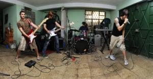 rock band in garage