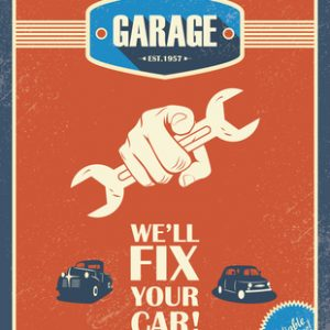 "A red vintage garage poster has a hand holding a wrench pointing at the viewer. Text says ""We'll fix your car!"""