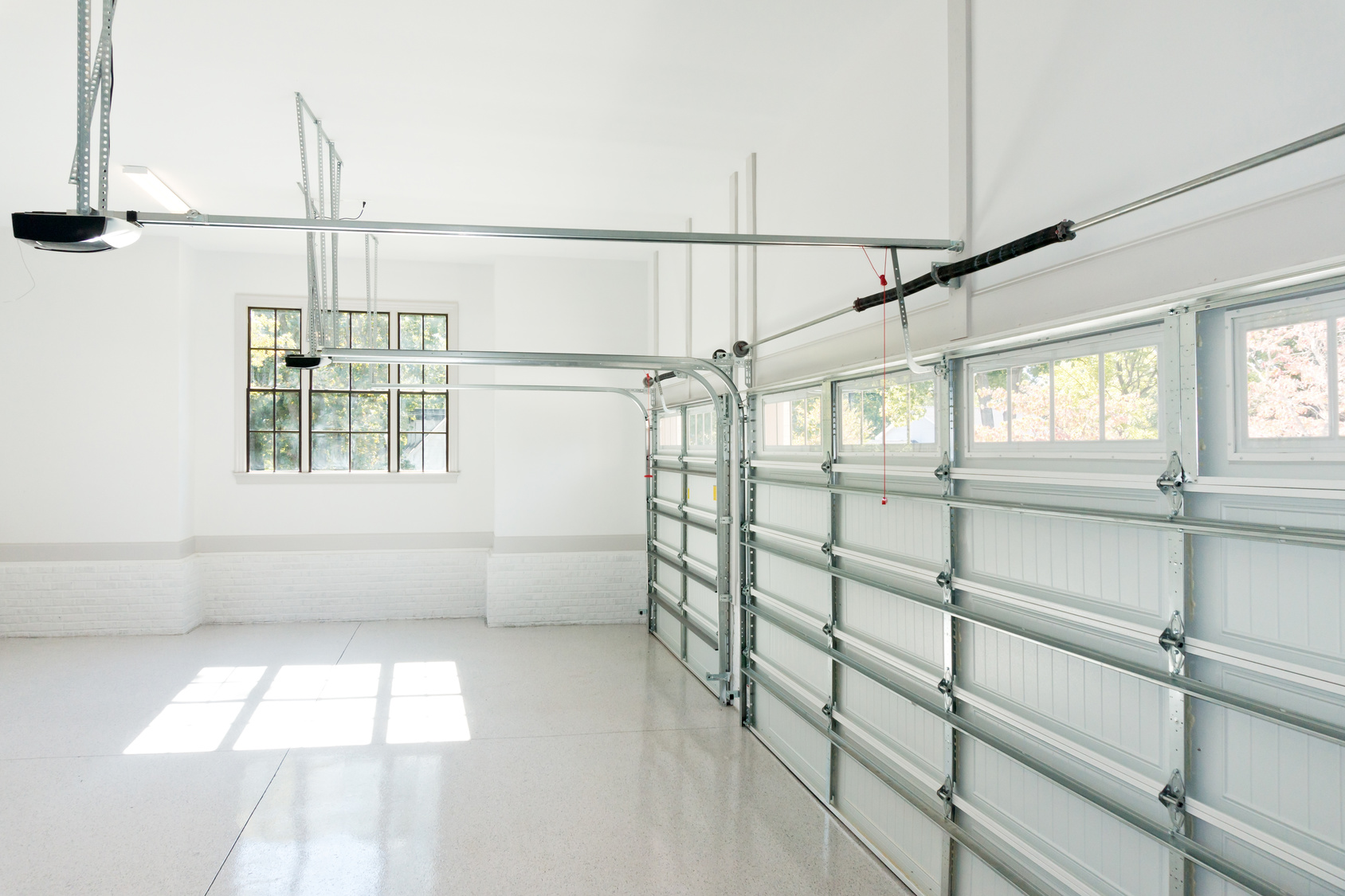 empty white garage