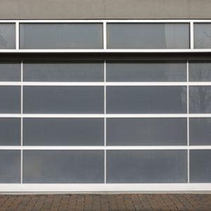 A glass panel garage door looks pretty