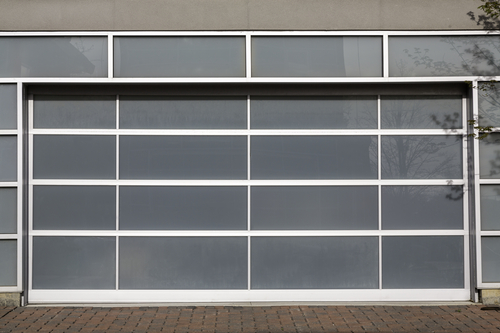 A glass panel garage door looks pretty