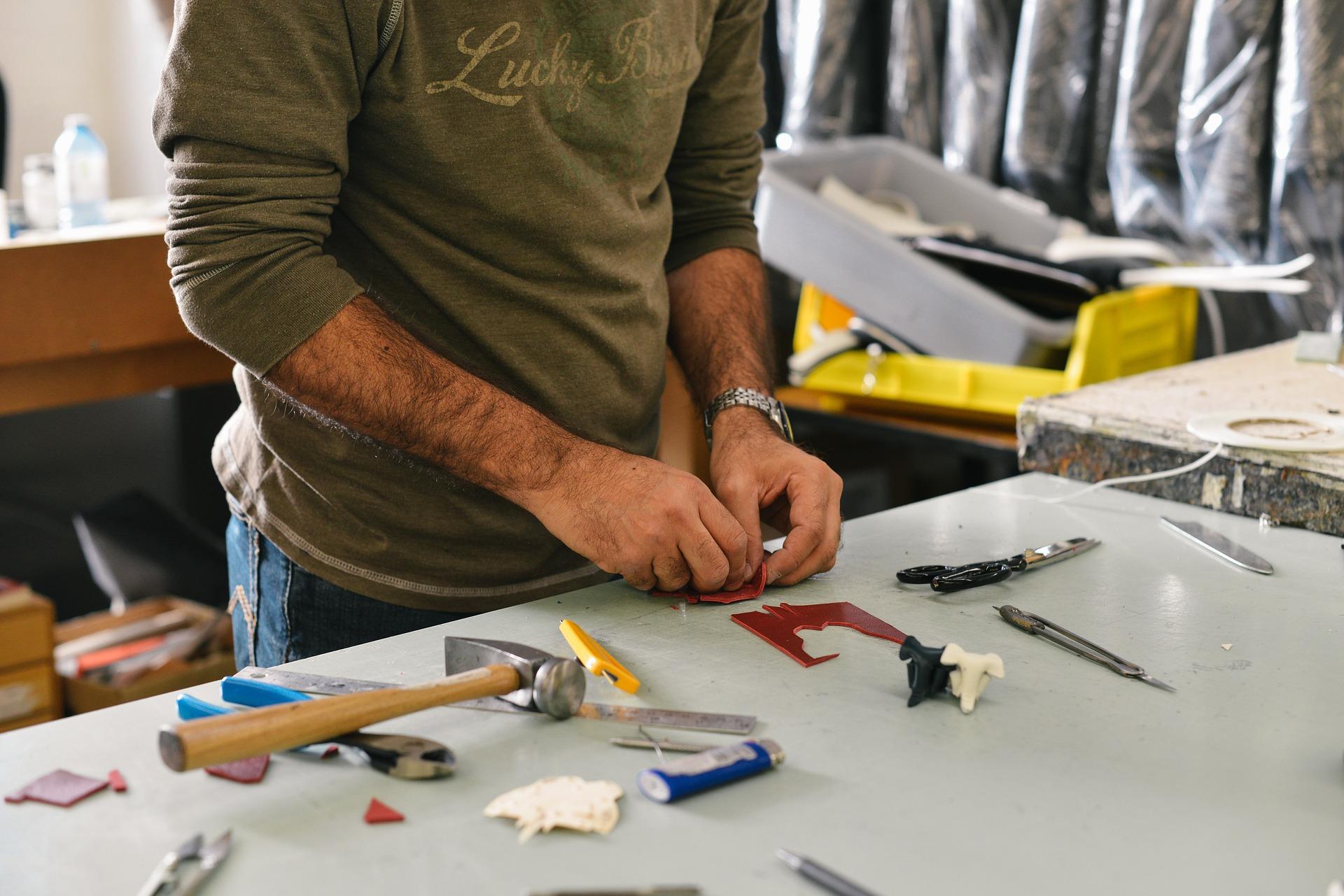 Technician working inside garage