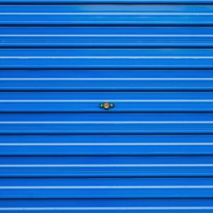 Blue aluminum garage door
