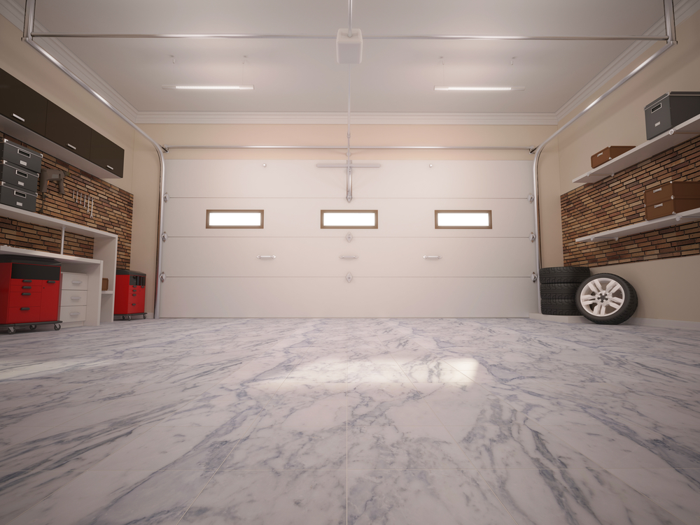 Garage door and floor