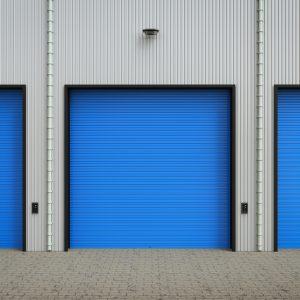 Blue roll up doors