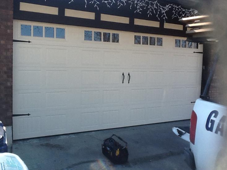Brand new garage door on home