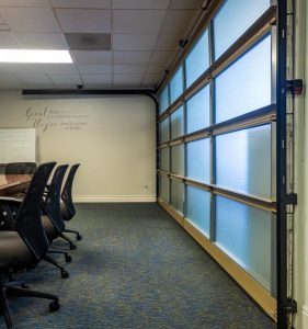 glass garage door conference room utah
