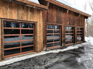 glass garage door utah wood grain