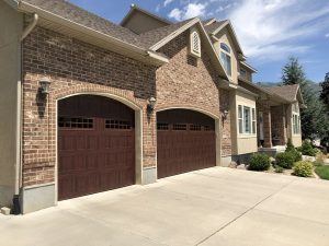 wood grain garage door with windows utah 01