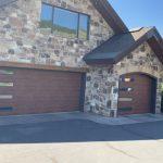 wood grain garage door with windows utah 02