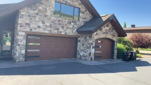 wood grain garage door with windows utah 02